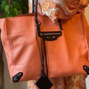 BALENCIAGA Mini Papier light Pink Leather Tote Bag